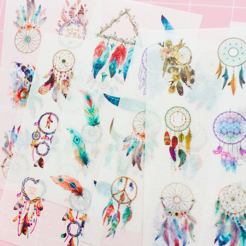 6 Sheets Bohemia Style Colorful Feather Decorative Stickers Label Stick Decoration