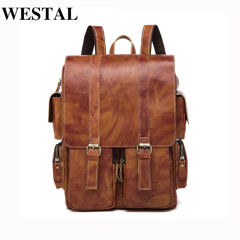 WESTAL Genuine Cowhide Leather backpack Men school Bags bagpack Men's Travel Bags Male backpacks Laptop bag pack  1133 marrant genuine leather backpacks men shoulder bag men bag leather laptop bag 15 inch men s luggage travel bags school backpack