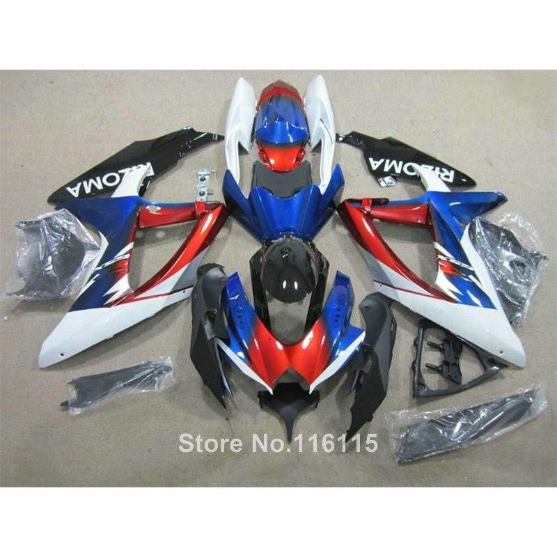Carénage kit pour SUZUKI K8 K9 GSXR 600 700 2008 2009 2010 GSXR600 GSXR750 08 09 10 bleu rouge blanc ABS carénages AG90