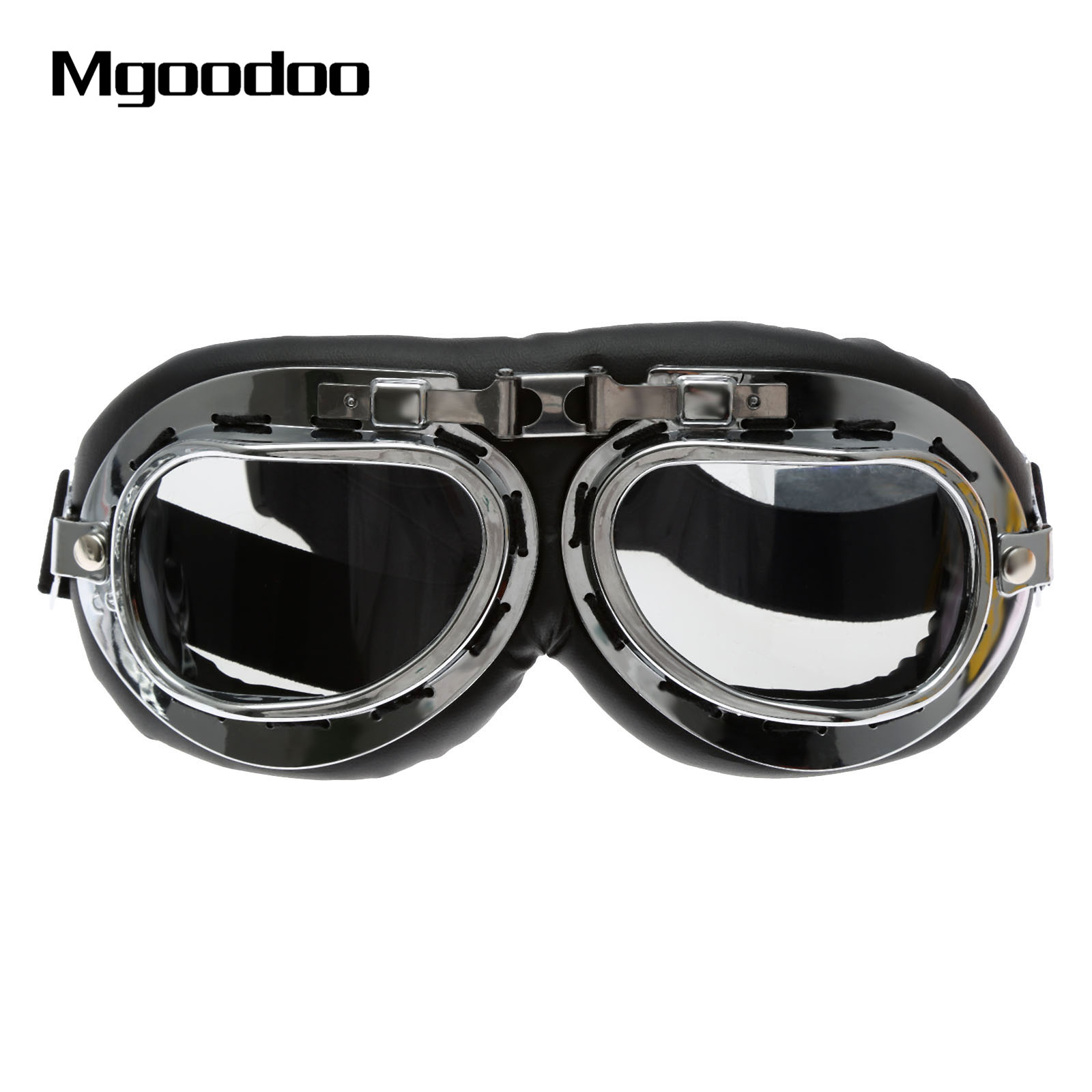 1x Silver Vintage Motocross Goggles Anti-UV Scooter Motorcycle Glasses ATV Skiing Cycling Off-Road Eyewear Sunglasses Brown Lens