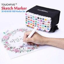 Художественный маркер для рисования, набор сенсорных ручек, пять, 40, 60, 80, 168 цветов, спиртовой Графический художественный эскиз, двойной маркер, ручка, подарок, альбом для рисования