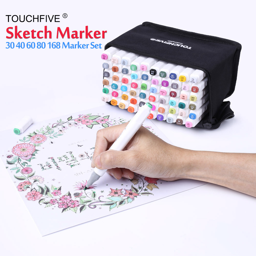 Art Drawing Marker Pen Set TOUCH FIVE 40 60 80 168 Color Alcohol Graphic Art Sketch Twin Marker Pen Gift Sketchbook For Painting