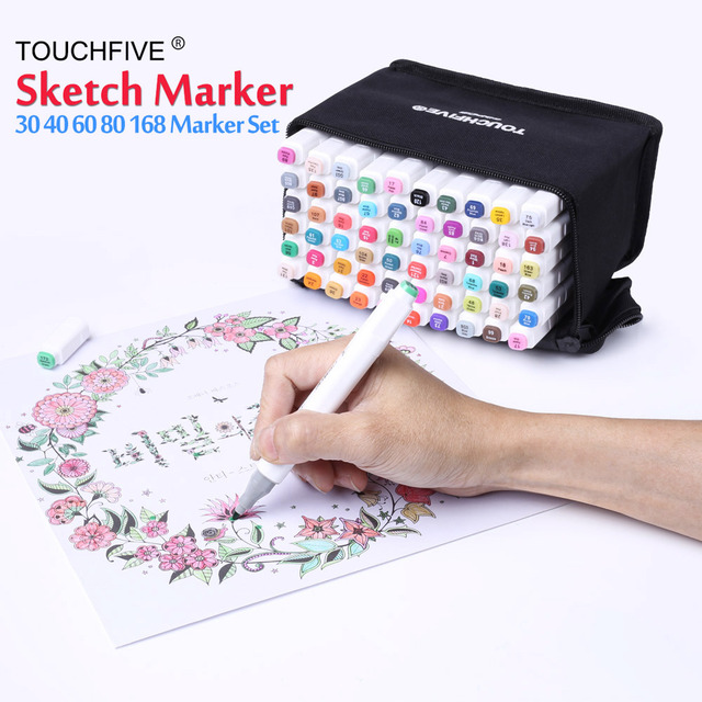 Original 30/40/60/80/168 Colors Art Markers Set Dual Headed Artist Sketch Oily Alcohol Based Marker Pen For Animation Drawing