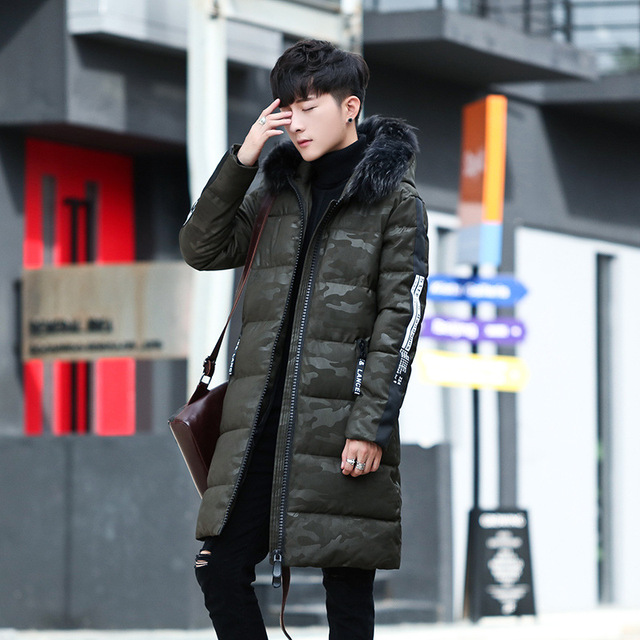 Fashion urban waist-shaped body style Men men's down jacket long comfortable and soft thick hooded fur collar men's coat