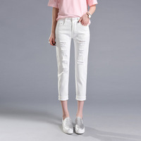 Summer New Arrival Womens Ripped Broken Hole Cropped Denim Pants Fashion Distressed White Color Calf Length