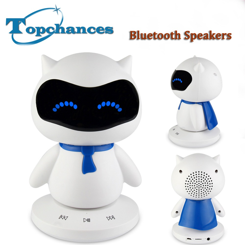 2017 Mini Portable cute Robot Smart Blueototh font b Speaker b font With Music Calls Handsfree