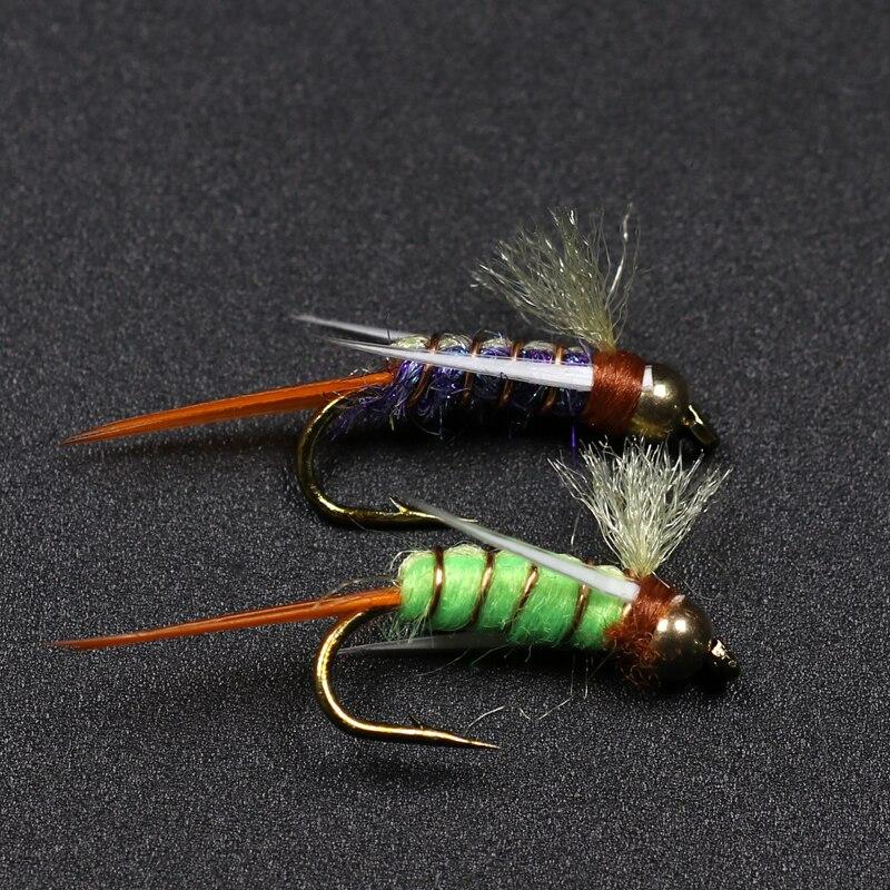 10PCS #12 Trout Fishing Flies Lure Psycho Prince Nymph Brass Beadhead Nymph  Crazy Purple & Chartreuse Prince