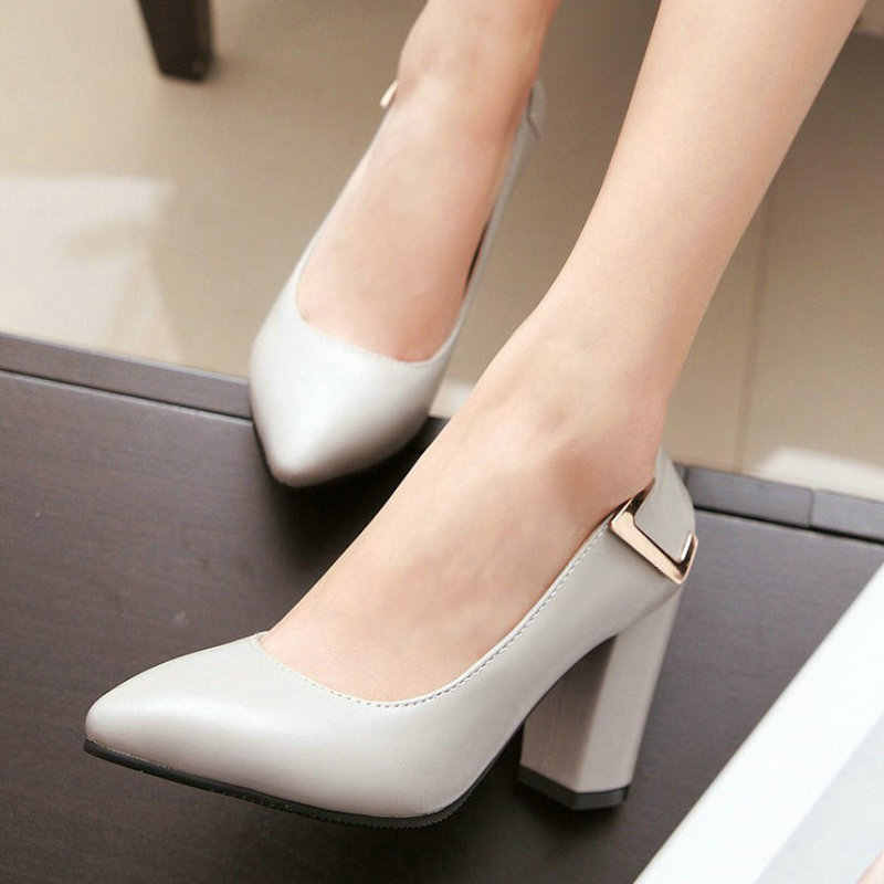 2019 Fashion Pointed Toe High Heels Women Shoes Square High Heel Pumps Black Blue Gray Beige