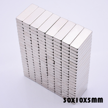 цена 10Pcs 30x10x5 mm Neodymium Magnet super powerful neodymium magnets free shipping N35 rare earth magnet for crafts 30*10*5 mm в интернет-магазинах