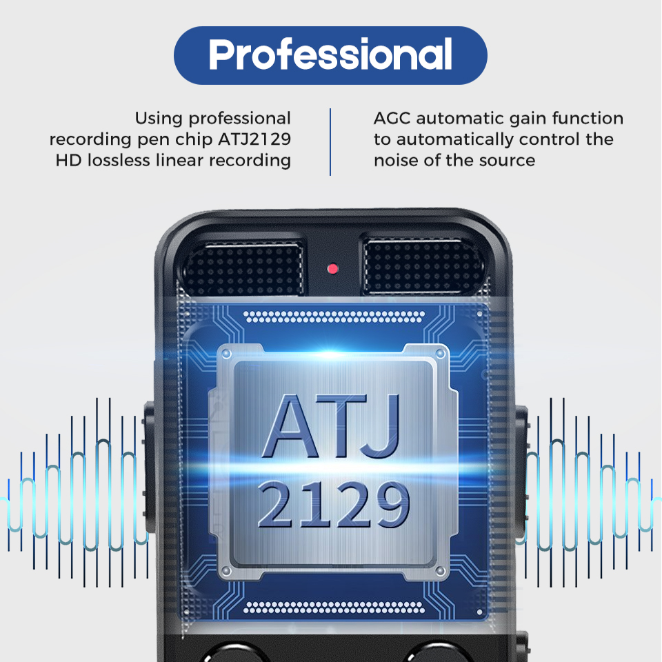Professional Dictaphone Digital Voice Recorder Chip Mini Registrar HIFI Stereo Sound Microphone Support Telephone Recording