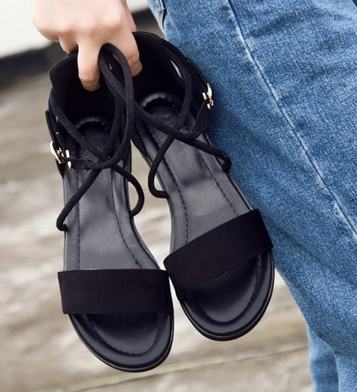 2018 summer new strap flat with ladies sandals open toe flat simple women's shoes 2