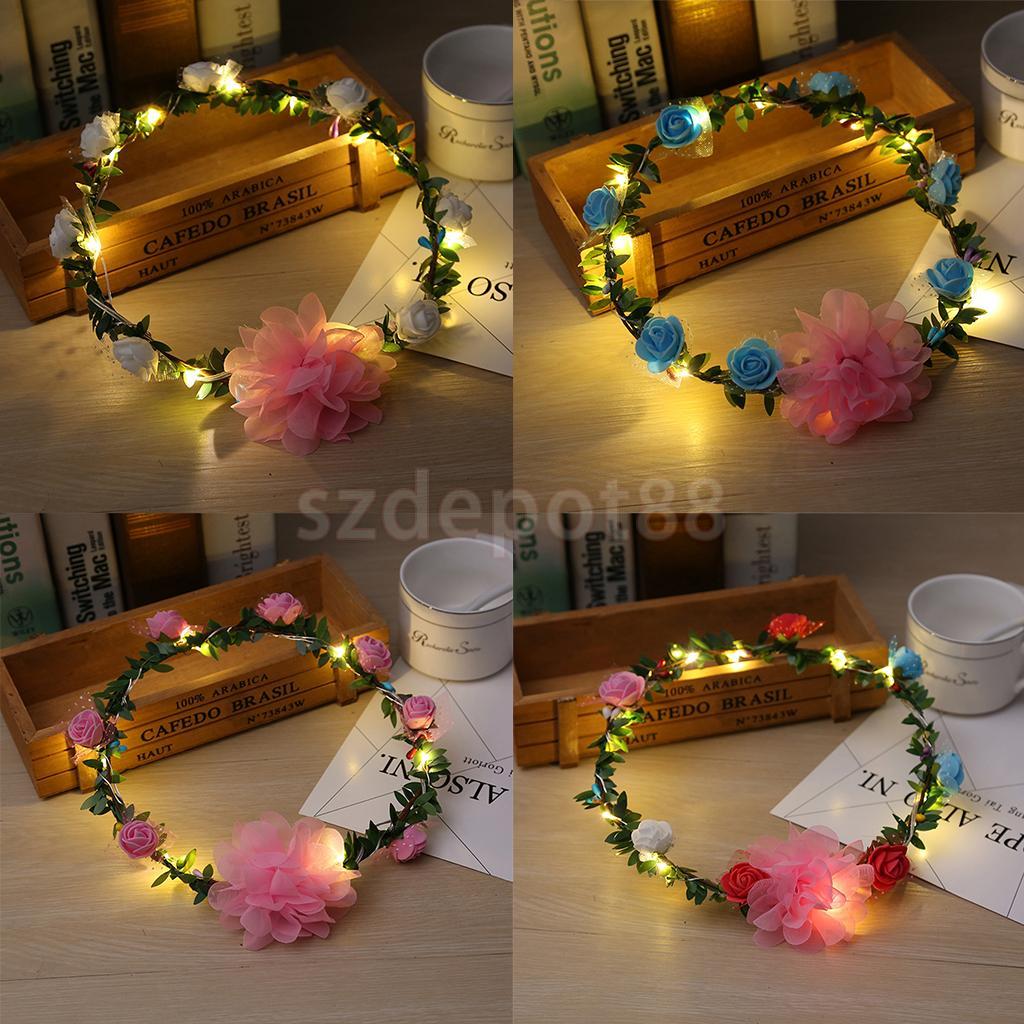 4x Wedding Party Crown Flower Headband Led Light Up Hair Wreath Hairband Garlands
