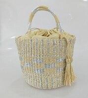 New gold and silver bucket woven straw bag British wind women's shoulder bag handmade grass weaving travel leisure beach bag
