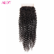 Alot Hair Free Part Brazilian Kinky Curly Closure 130% Density Human Hair Extension Lace Closure Non-Remy Closures Hand Tied