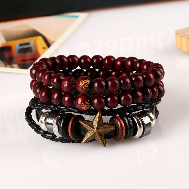 Star and Vintage Beaded Bracelet set with Handmade Vintage Leather Bracelet