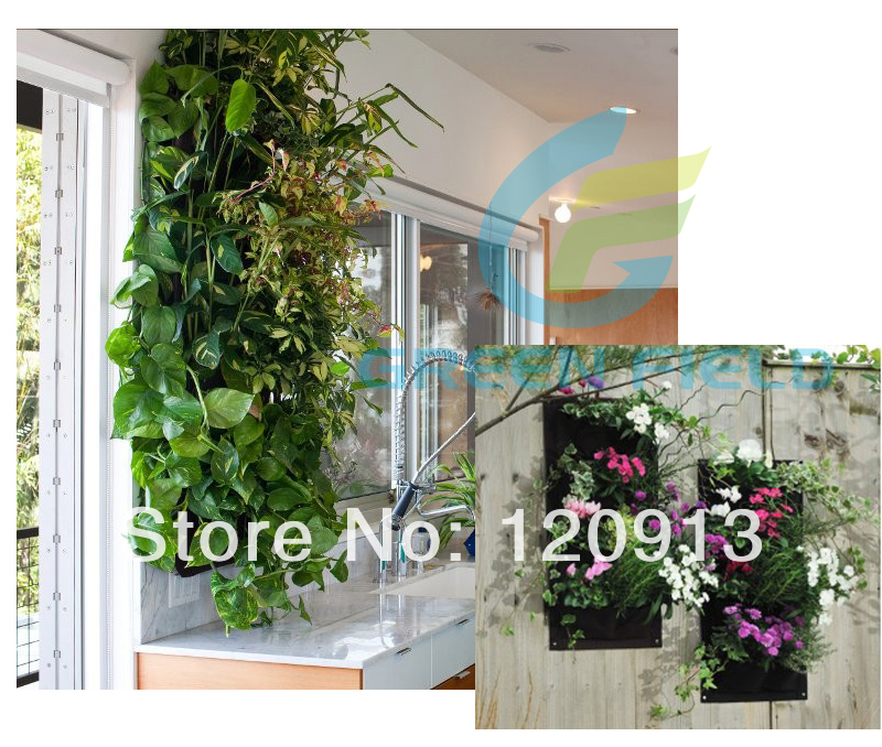 DIY Green Wall Recycle Felt Black Vertical Garden Planter 4 Pockets Wall  Flower Garden Pot Hanging Flower Pot Free Shipping In Flower Pots U0026 Planters  From ...