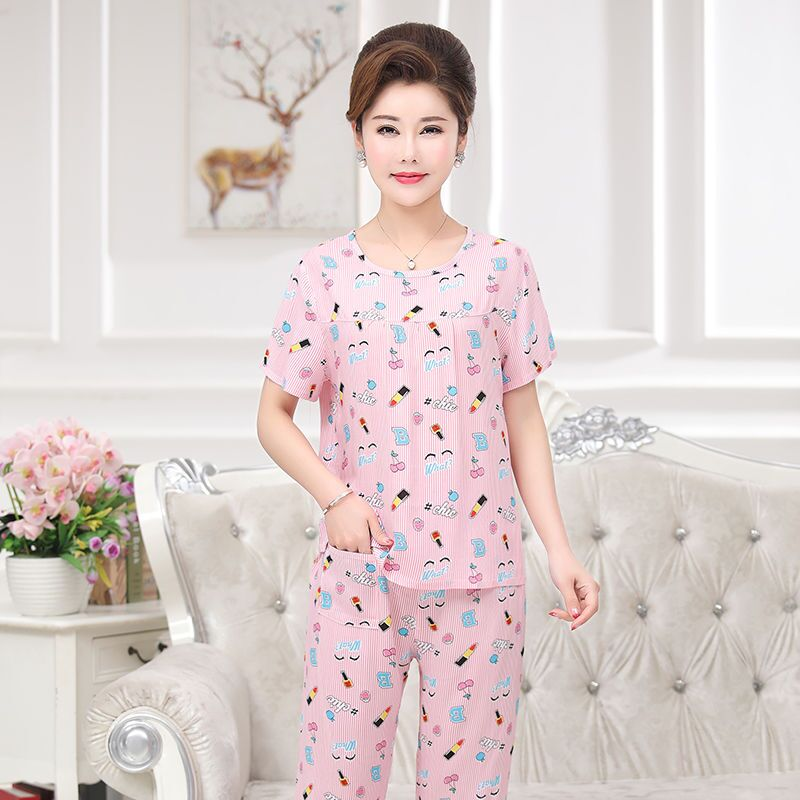 Mom Summer Thin   Pajamas     Set   Cotton Stitch Female Pyjamas Sexy Print Female Shorts Shirt 2 Piece/  Set   Stitch Lingerie Sleepwear