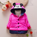 Nova Brasão Crianças dos desenhos animados Do Bebê Meninas Casacos de inverno luva cheia casaco quente da menina casaco de Inverno Casacos Grossos Do Bebê menina roupas