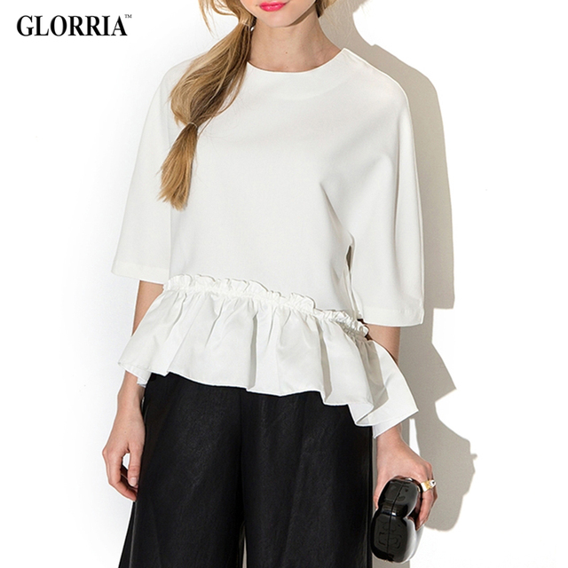 Glorria Brand Casual Loose White Chiffon Blouse With Round Neck, Half Sleeve & Ruffled Hem
