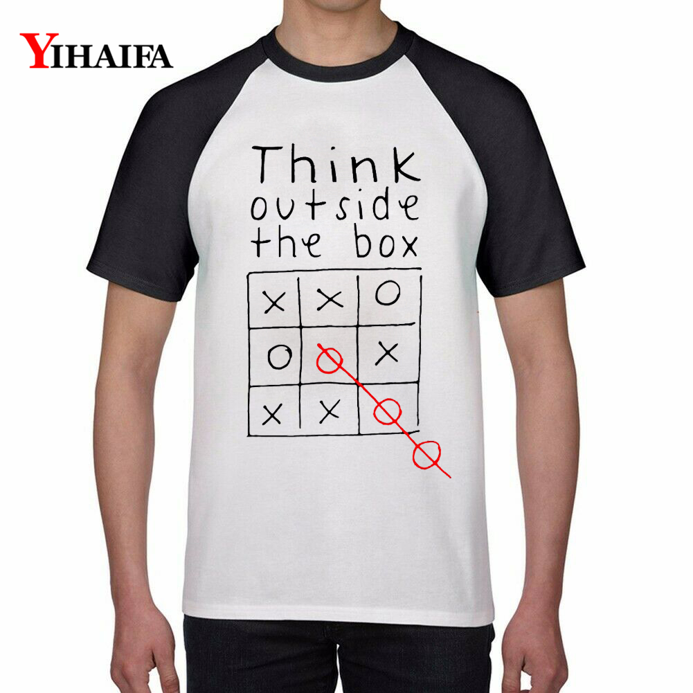 2019 Mens Womens T Shirts Think Outside The Box Letters 3D Print Funny Graphic Tee Casual Harajuku Tops Unisex White t shirt in T Shirts from Men 39 s Clothing