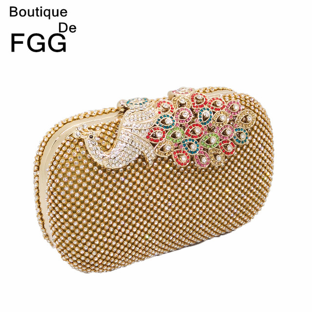 Women Luxury Gold Crystal Prom Evening Bags Metal Hard Multi Diamond Peacock Cover Wedding Party Shoulder Clutch Purse Handbag