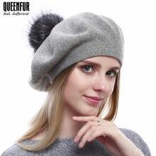 QUEENFUR invierno Beret gorros mujeres de punto de lana sombrero con Real  Fox Fur Pompom sombrero 6e9d1481c5c