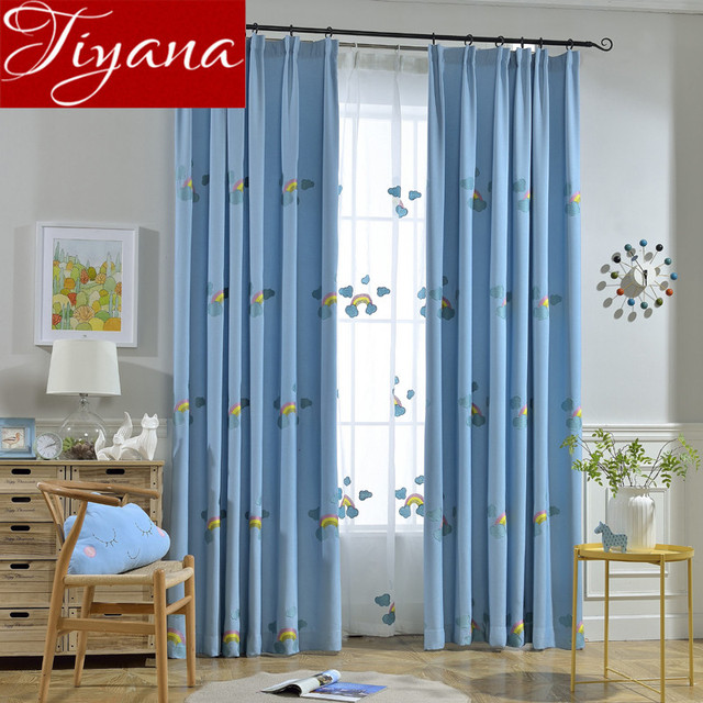 Rainbow Curtains Embroidered Voile Kids Girls Room Bedroom Window ...