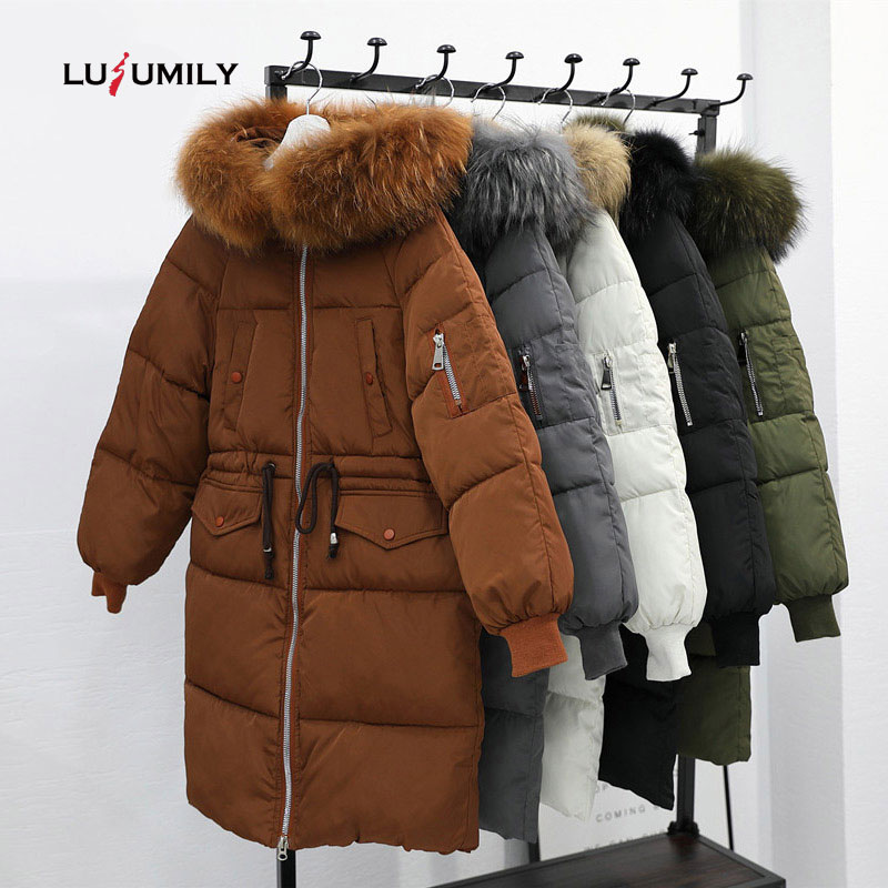 Lusumily Winter Jacket Women Warm Thick Long Parka Big Fur Collar Female Coat 2019 New Plus