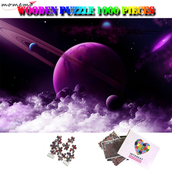 MOMEMO Purple Planet Adults 1000 Pieces Puzzle Wooden Landscape Jigsaw Puzzles 1000 Piece Adults Puzzles Friends Surprise Gifts