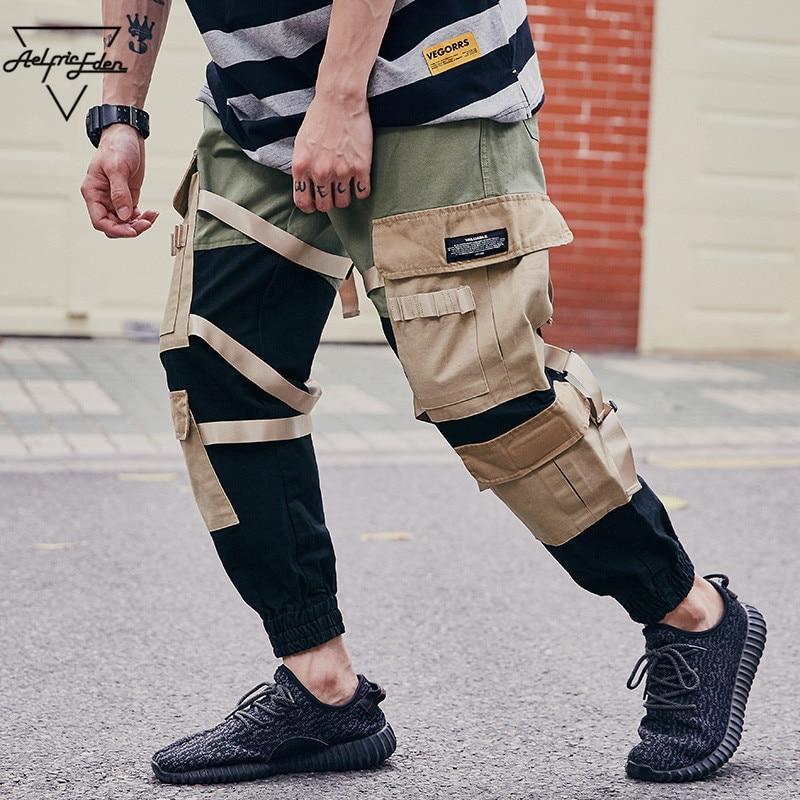 Aelfric Eden Casual Pants Men's 2018 Harem Sweatpants Color Block Patchwork Ribbons Side Pockets Joggers Fashion Trousers UR01 blue fashion two side pockets sport trousers