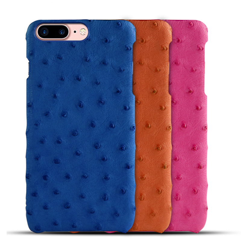 Genuine Ostrich Skin Leather Case Cover For iPhone 7 8 6 6s Plus Fashion Elegant Original Leather Mobile Phone Cases Accessories