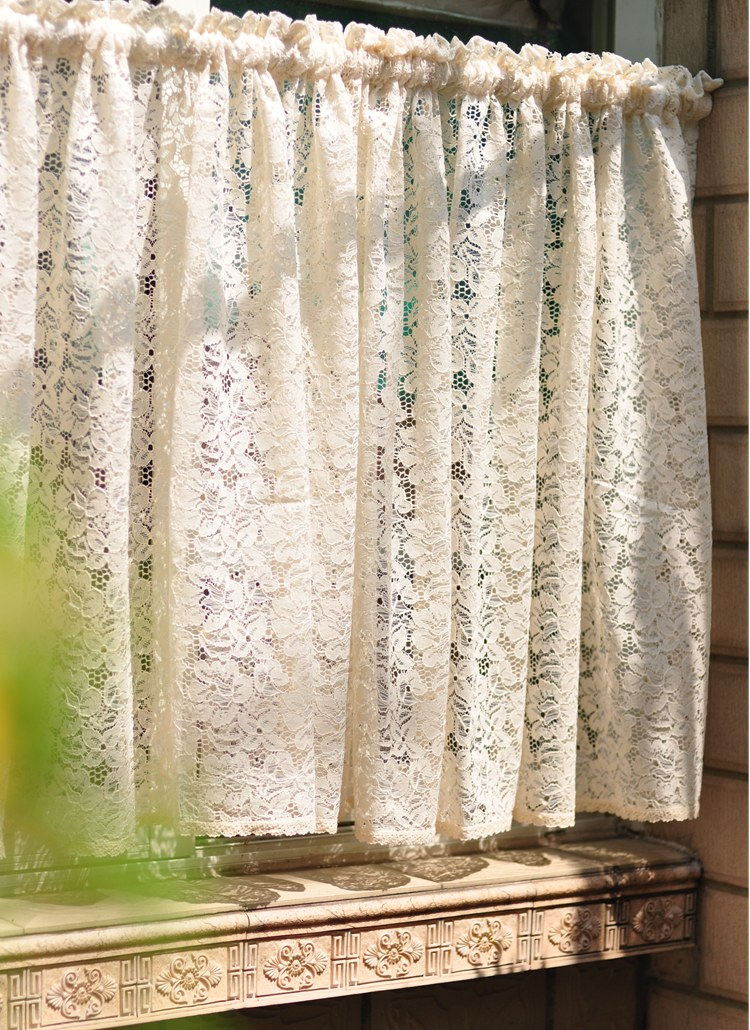Free shipping rustic elegant lace tulle yarn coffee short curtain - Home Textile