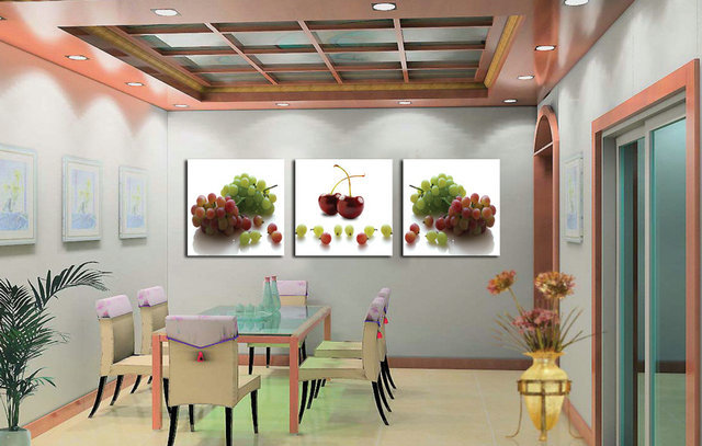 3 Panels Grapes And Cherry Painting Canvas Wall Art Picture Home Decoration Kitchen Art Canvas Print