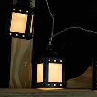 10 Bulbs Retro Black Art Iron Lantern Cold Warm White LED String Light Fairy Lamps Coffee Bar Backyard Outdoor Decoration