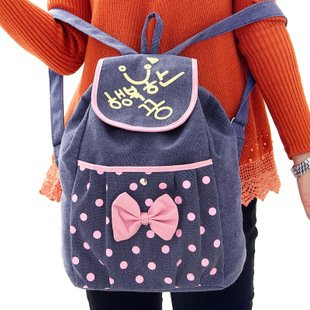 201 New design leisure canvas backpacks girls backpack polka dot ...