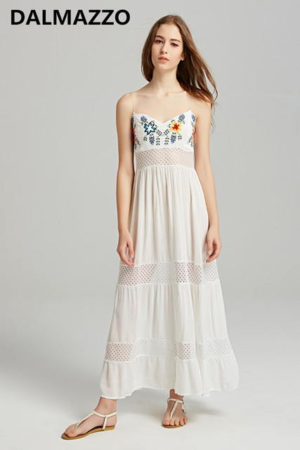 1c160210add30 2018 Summer Women Loose Waist Sleeveless Vacation Long Dresses White  Embroidery Bohemian Spaghetti Strap Strapless Cotton Dress-in Dresses from  ...