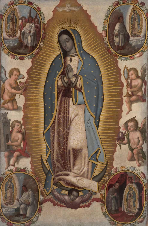 עליון ענק ציור דתי-הבתולה של גבירתנו גואדלופה בסביבות של גואדלופה קתולי הדפסת ציור על בד-טוב איכות