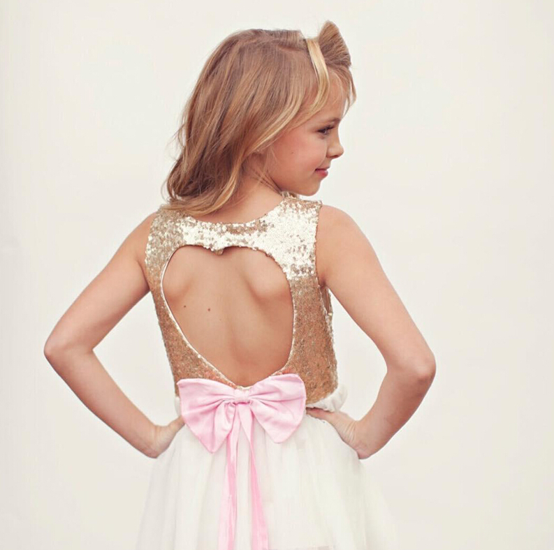 3-10Y Children Baby Girl Dress Clothing Sequins Party Gown Mini Ball Formal Love Backless Princess Bow Backless Gown Dress Girl 3