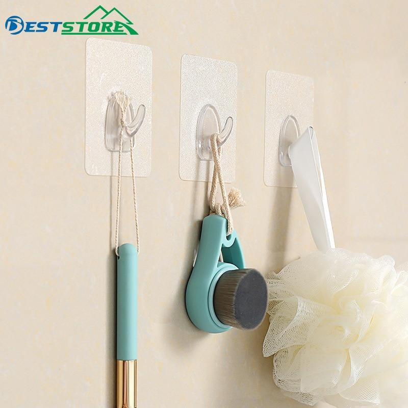6Pcs Transparent Self Adhesive Hook Door Wall Strong Hangers Towel Mop Handbag Strong Holder For Kitchen Bathroom Accessories