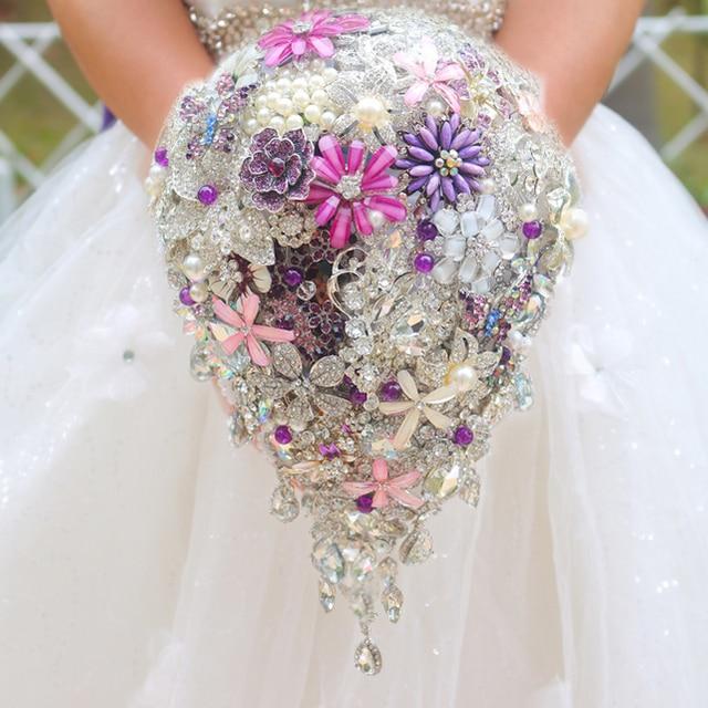 Серебро и фиолетовый брошь букет высокого класса пользовательских свадебные свадебные букеты кристалл алмаза слеза стиль Невесты Букет декор