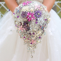 Silver & purple brooch bouquet high end custom wedding bridal bouquets crystal diamond teardrop style Bride 's Bouquet decor