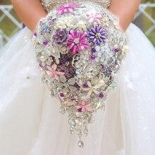 Silver & purple brooch bouquet high-end custom wedding bridal bouquets crystal diamond teardrop style Bride 's Bouquet  decor