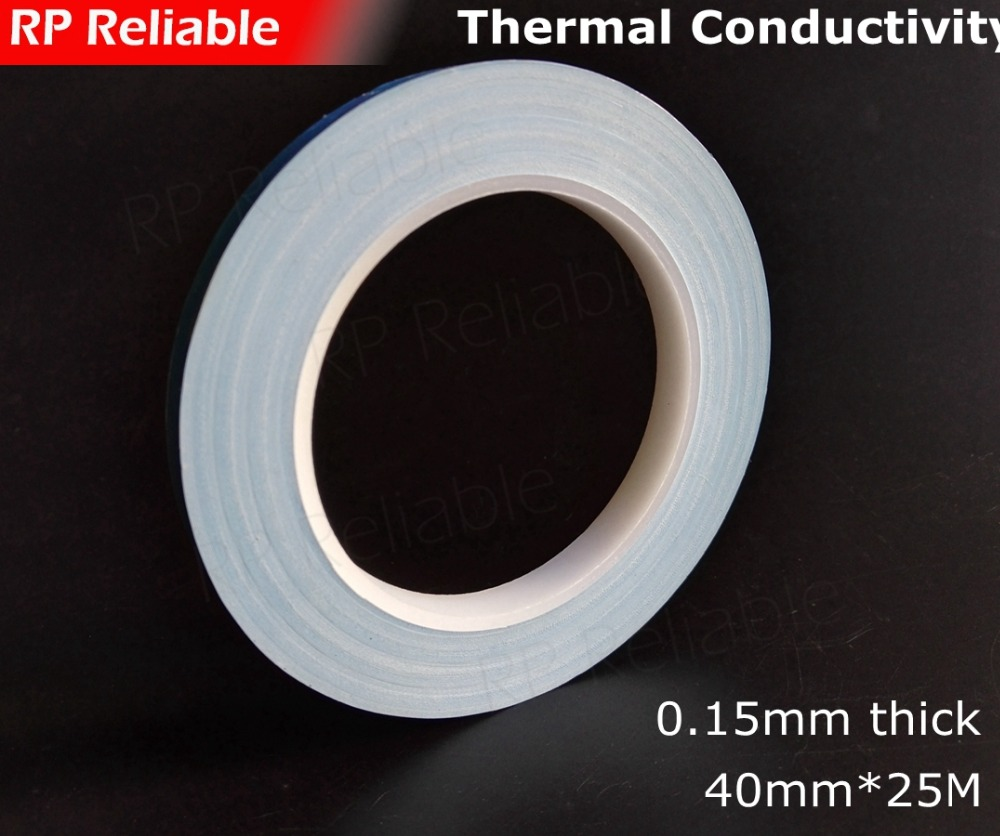 1x 40mm*25M*0.15mm Thermally Conductive Tape 2 Sides Sticky for High Power Cooling Device, Transistor, PCB, LED with Heat Sink