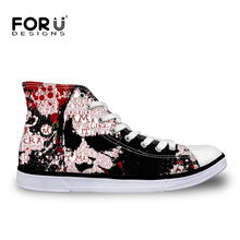 FORUDESIGNS Spring Classic Men's Casual Shoes Cool Joker Printing Canvas High-top Vulcanized Shoes For Men Student Flats Zapatos