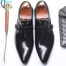 2019 Handmade Business mens dress shoes Office Wedding Party formal Genuine Leather Mens Monk Dress Shoes