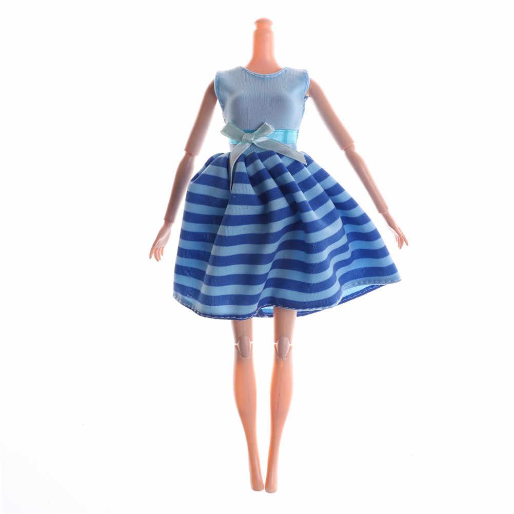Juguete para regalo para niños, vestido de moda hecho a mano para fiestas y citas, minivestido de cena, diseño de rayas, ropa con lazo para Barbie, accesorios para muñecas