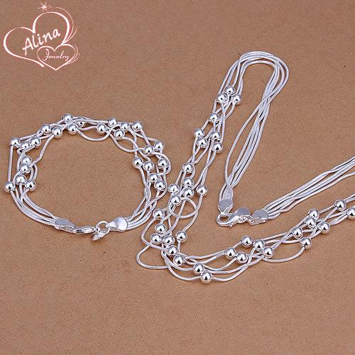 Free Shipping Wholesale silver plated jewelry set, fashion jewlery set Five Lines Of Bean Two-Piece Jewelry Set S063