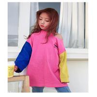 Baby girl T shirt 2019 spring new fashion long loose long sleeved shirt children Korean version of the stitching shirt