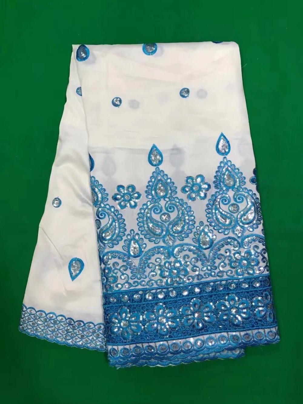 5 yardas/pc nueva moda blanco George encaje tela con cielo azul flor lentejuelas algodón africano encaje para ropa DG1 1-in encaje from Hogar y Mascotas    1