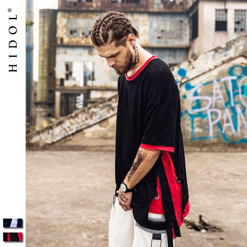 Oversize T shirt Longline Swag Gothic Swag T shirt Ribbon Contrast White Brand Clothing Hip Hop Tshirt Men Tee Streetwear Kanye